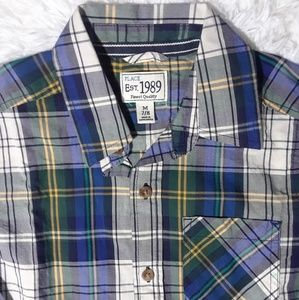 Children's Place Plaid Button Front Shirt- Size M